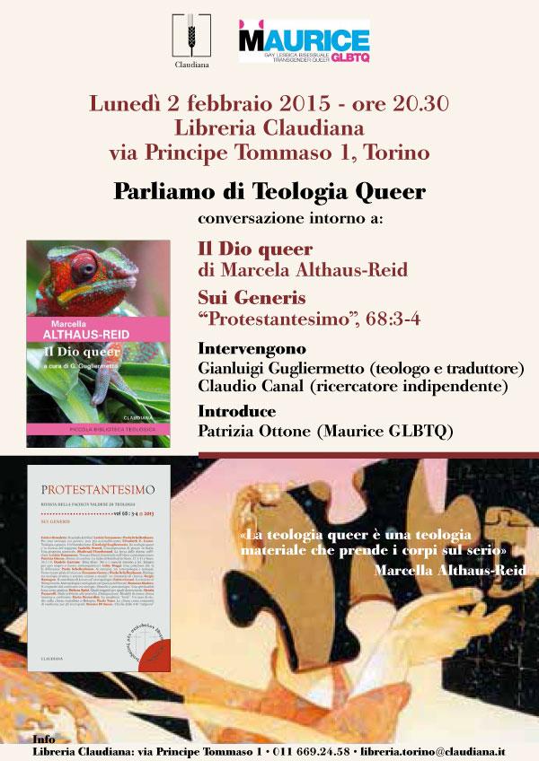02.02.2015, TORINO: Parliamo di Teologia Queer @ Libreria Claudiana | Torino | Piemonte | Italia
