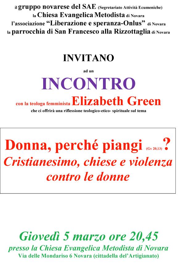 "05.03.2015, NOVARA: Incontro con la teologa femminista Elizabeth Green ""Donna, perché piangi? (Gv.20,13)"" @ Chiesa Evangelica Metodista di Novara | Novara | Piemonte | Italia"