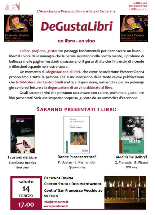 14.03.2015, VICENZA: DeGustaLibri @ Centro Studi Presenza Donna | Vicenza | Veneto | Italia