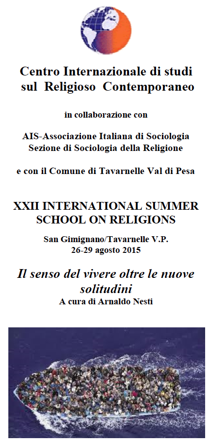 26-29.08.2015: XXII INTERNATIONAL SUMMER SCHOOL ON RELIGIONS @ San Gimignano/Tavarnelle V.P.