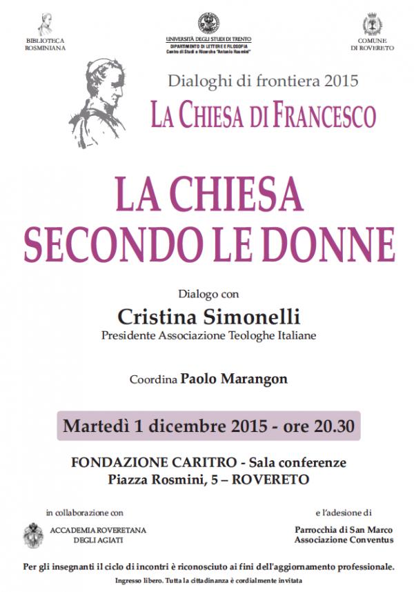 01.12.2015, ROVERETO: La chiesa secondo le donne @ Fondazione Caritro | Rovereto | Trentino-Alto Adige | Italia