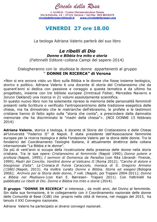 27.11.2015, VERONA: Le ribelli di Dio @ Circolo della Rosa | Verona | Veneto | Italia
