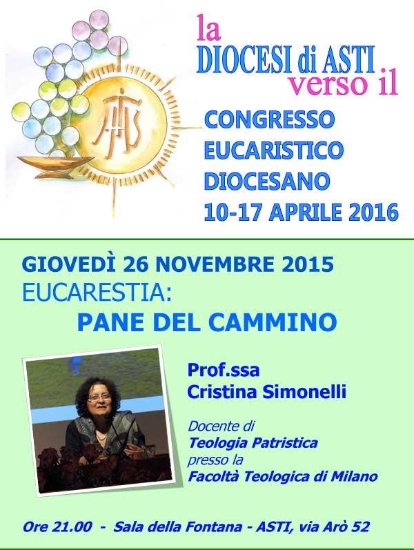 26.11.2015, ASTI: Eucarestia - Pane del cammino. Interviene Cristina Simonelli @ Sala della Fontana | Asti | Piemonte | Italia
