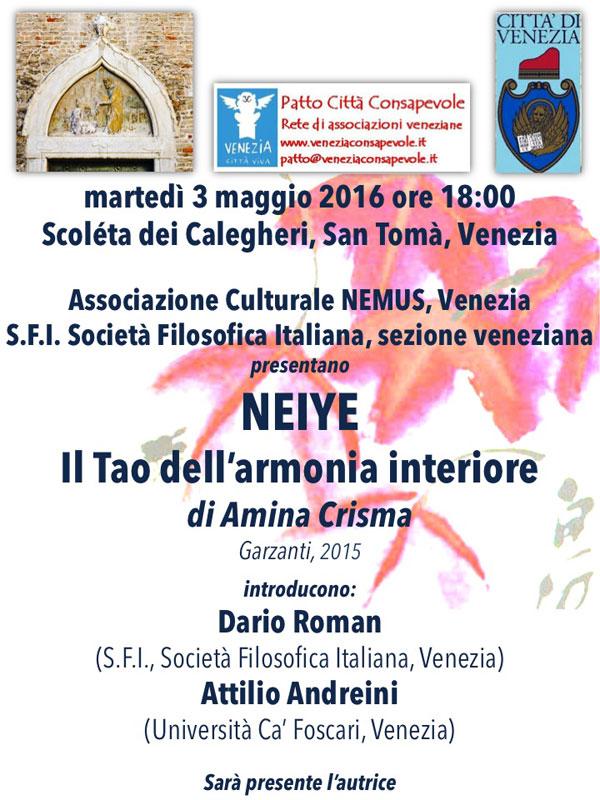 """03.05.2016, VENEZIA: Presentazione """"Il Tao dell'armonia interiore"""" @ Scoléta dei Calegari, San Tomà, Venezia"""