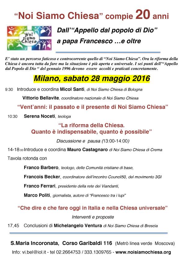 28.05.2016, MILANO: Vent'anni: il passato e il presente di Noi Siamo Chiesa @ S.Maria Incoronata, | Milano | Lombardia | Italia