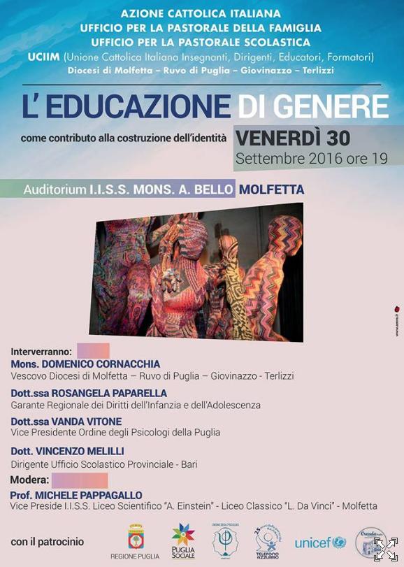 30.09.2016, MOLFETTA (BA): L'educazione di genere come contributo alla costruzione dell'identità @ Auditorium I.I.S.S. Mons. A. Bello