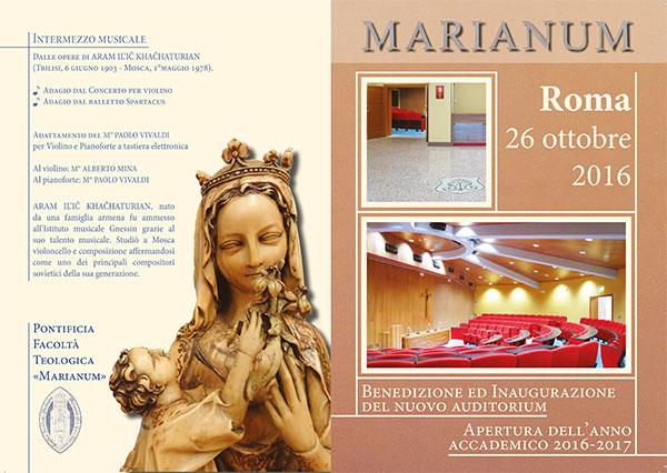 """26.10.2016, ROMA: Inaugurazione Anno Accademico Pontificia Università Teologica """"Marianum"""""""