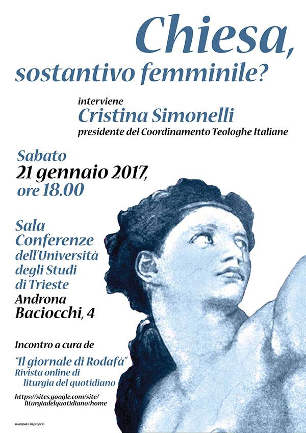 21.01.2017, TRIESTE: Chiesa, sostantivo femminile? @ Sala Conferenze Università degli Studi di Trieste