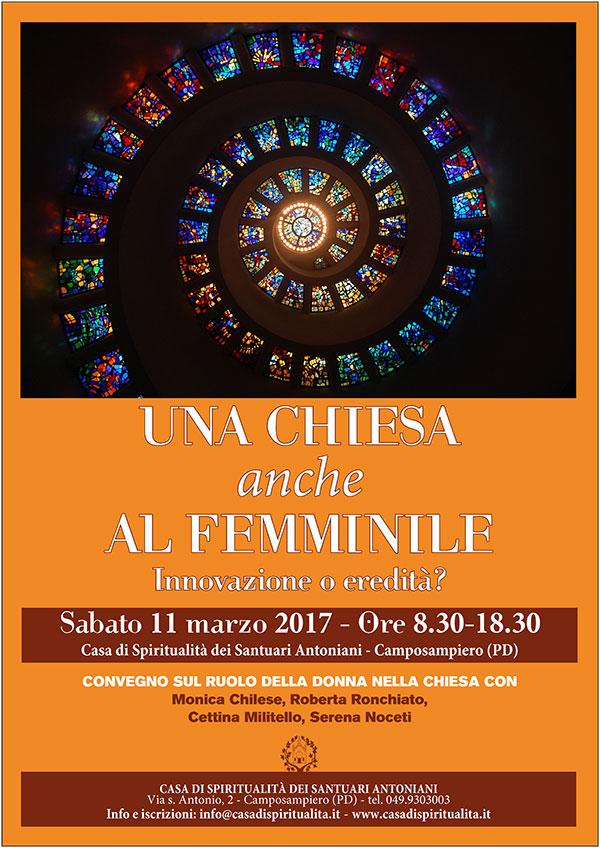 11.03.2017, PADOVA: Una chiesa anche al femminile. Innovazione o eredità? @ Casa di Spiritualità dei Santuari Antoniani | Camposampiero | Veneto | Italia