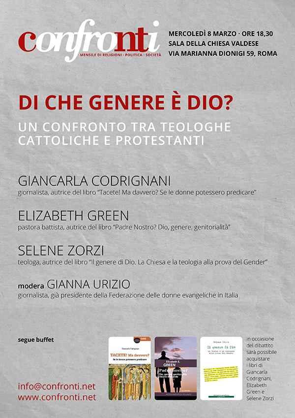 08.03.2017, ROMA: Di che genere è Dio? @ Sala della Chiesa Valdese | Roma | Lazio | Italia