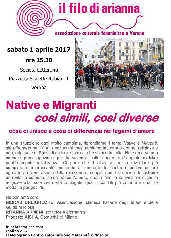 01.04.2017, VERONA: Native e Migranti @ Il Filo di Arianna | Verona | Veneto | Italia