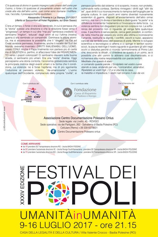 09-16.07.2017, BADIA POLESINE (RO): Festival dei popoli