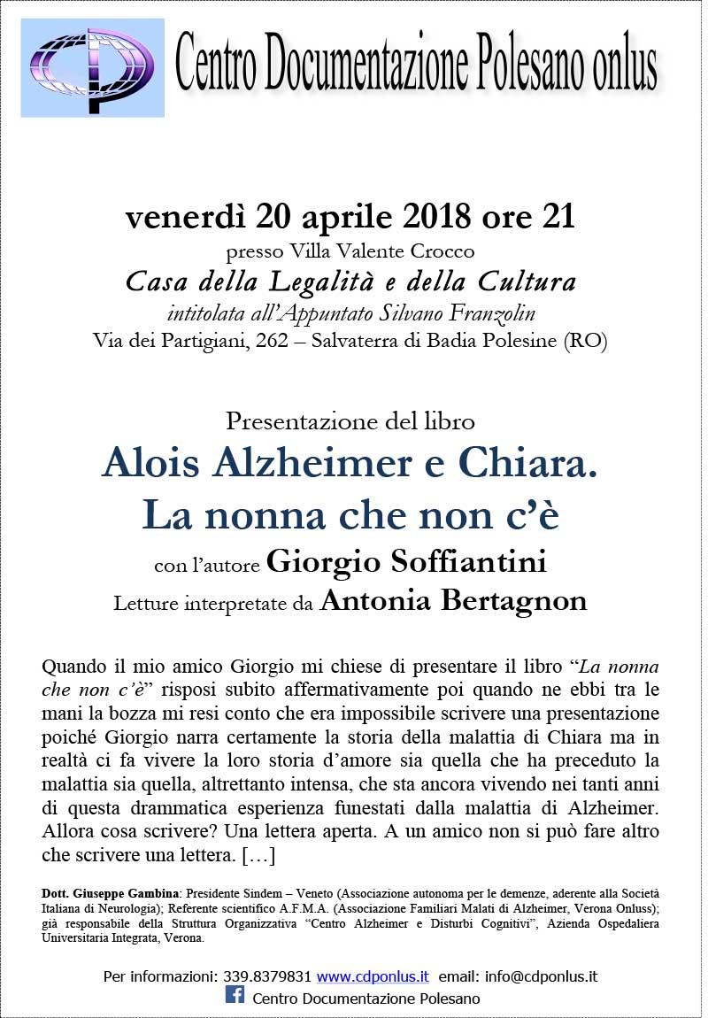"""20.04.2018, BADIA POLESINE (RO): Presentazione libro """"Alois Alzheimer e Chiara. La nonna che non c'è"""" @ Casa della Legalità e della Cultura   Salvaterra   Veneto   Italia"""