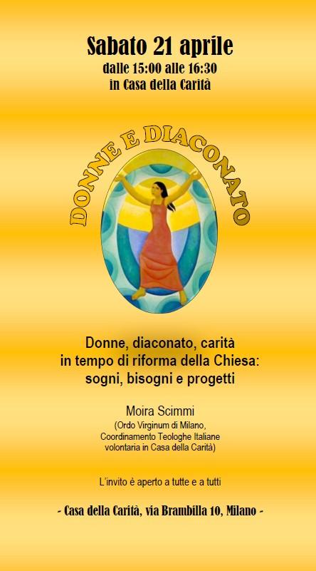 21.04.2018, MILANO: Donne e Diaconato, dialogo con Moira Scimmi @ Casa della Carità   Milano   Lombardia   Italia