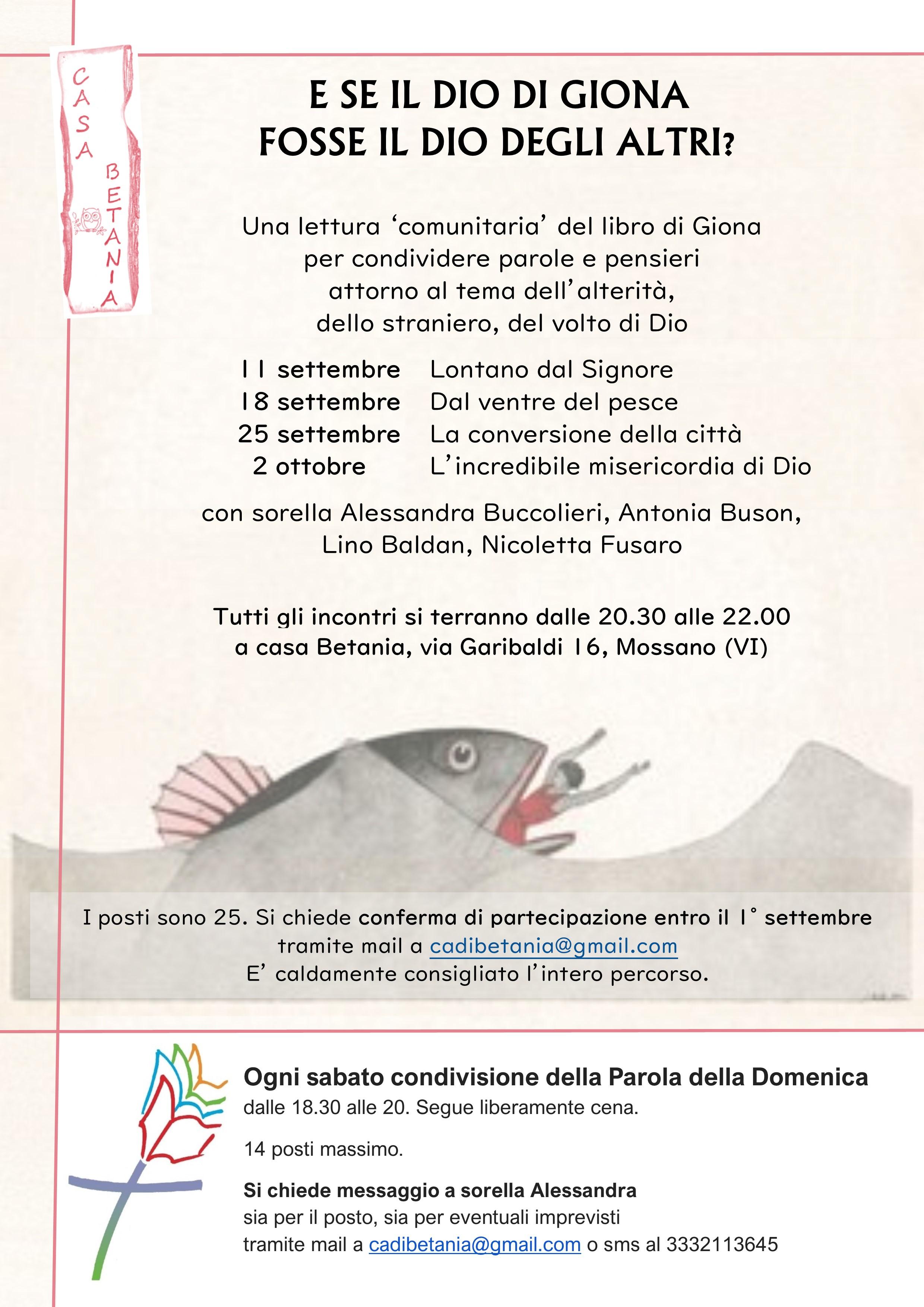 E se il Dio di Giona fosse il Dio degli altri? @ Casa Betania | Vicenza | Veneto | Italia