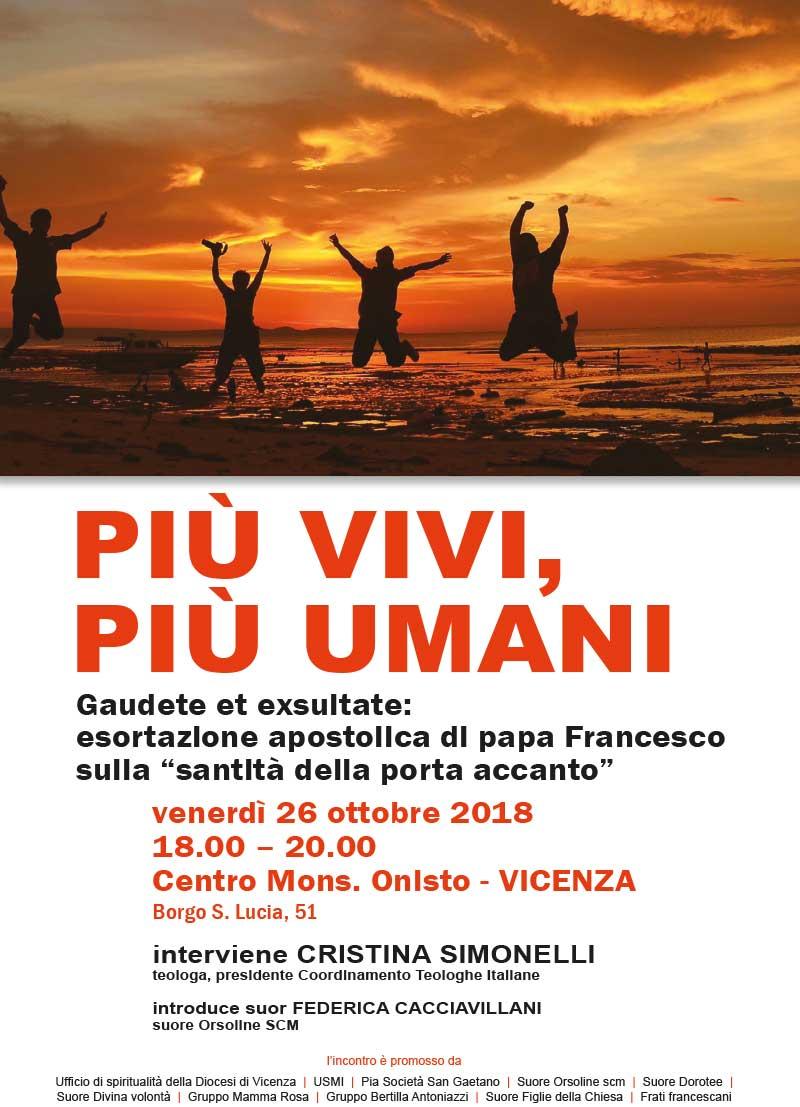 26.10.2018, VICENZA: Più vivi, più umani. Interviene Cristina Simonelli @ Centro Bons. Onisto | Vicenza | Veneto | Italia