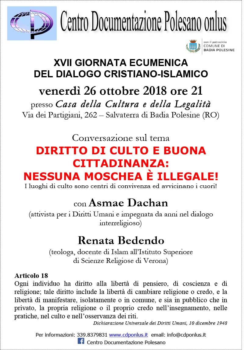 26.10.2018, Salvaterra di Badia Polesine (RO): XVII GIORNATA ECUMENICA DEL DIALOGO CRISTIANO-ISLAMICO @ Casa della Cultura e della Legalità | Salvaterra | Veneto | Italia