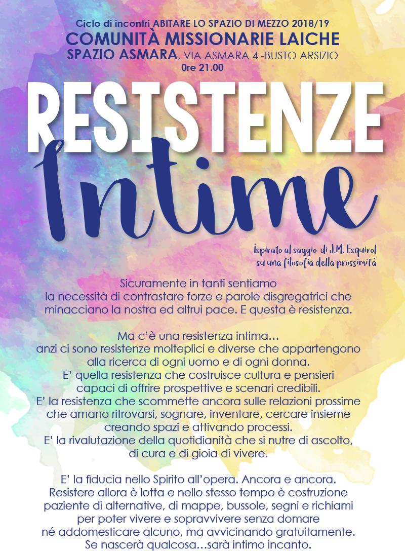 Ciclo di incontri: Resistenze Intime @ SPAZIO ASMARA | Busto Arsizio | Lombardia | Italia