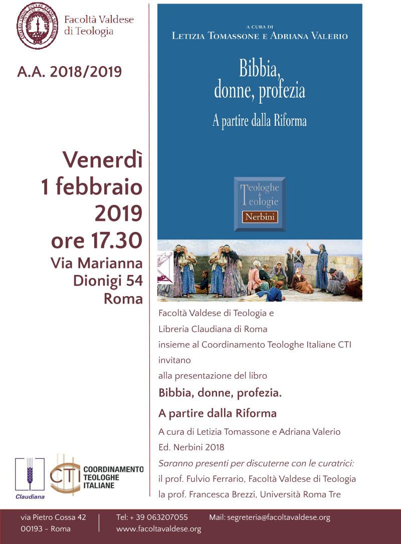 """01.02.2019, ROMA: Presentazione """"Bibbia, donne, profezia. A partire dalla Riforma"""""""