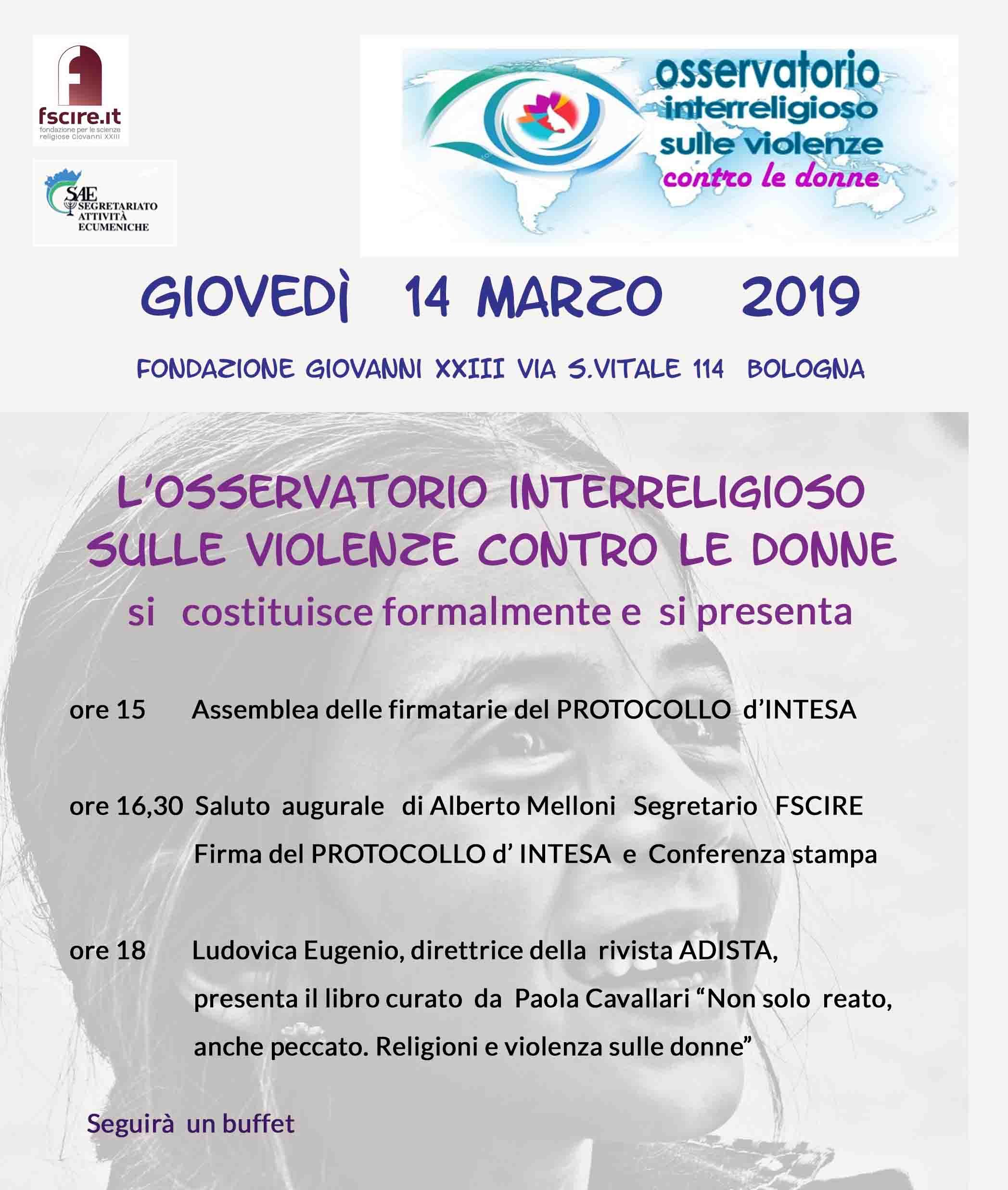 14.03.2019, BOLOGNA: L'Osservatorio interreligioso sulle violenze contro le donne @ Fondazione Giovanni XXIII