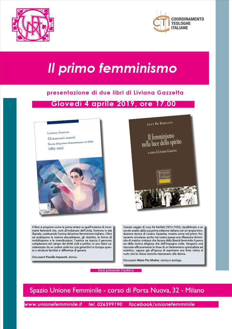 04.04.2019, MILANO: Il primo femminismo - Presentazione di 2 libri di Liviana Gazzetta @ Spazio Unione Femminile