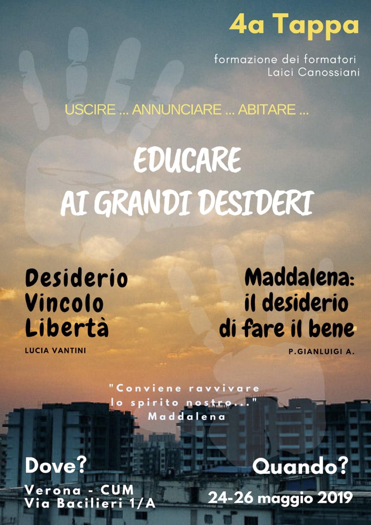 24-26.05.2019, VERONA: Educare ai grandi desideri @ CUM