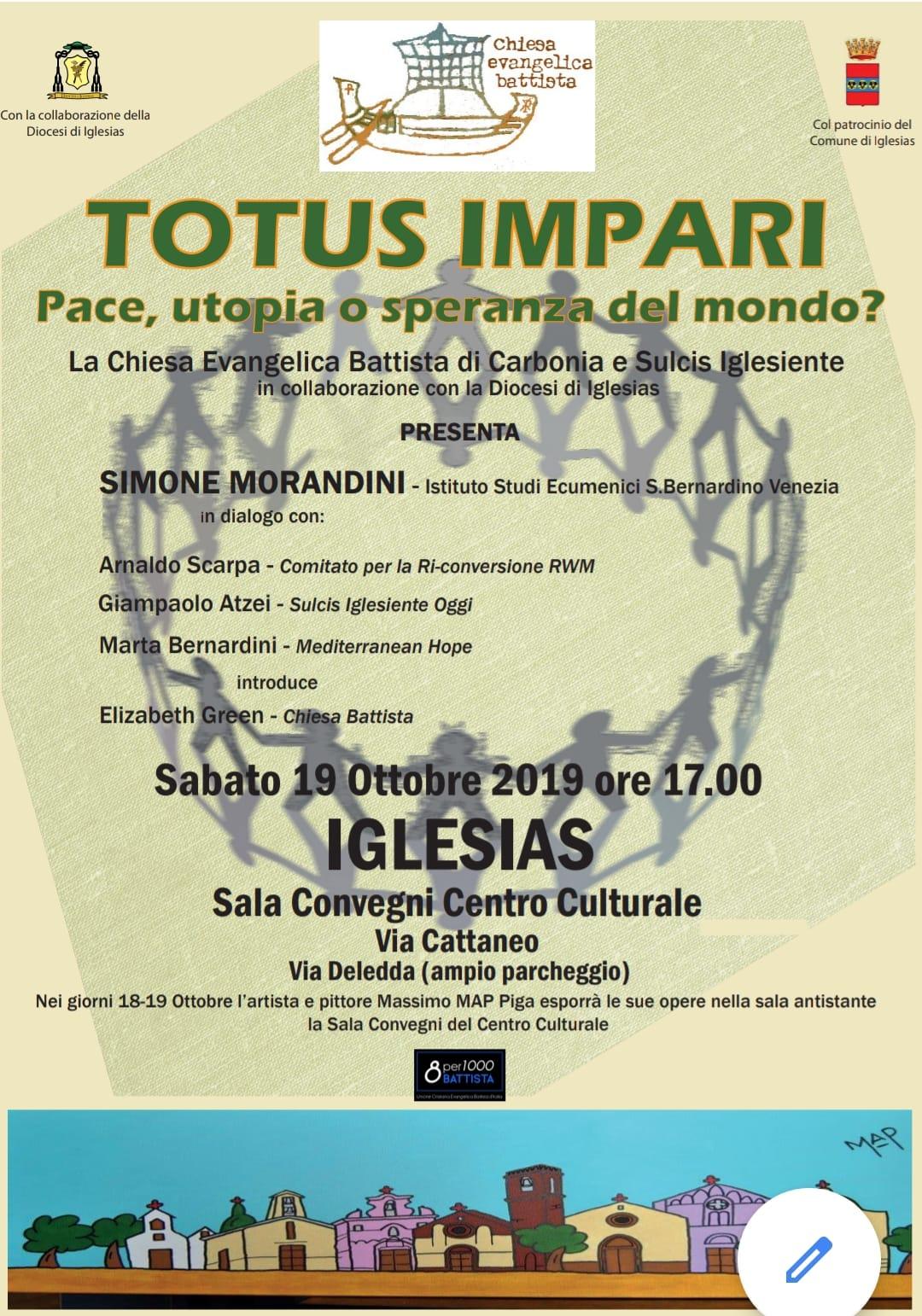 """19.10.2019, IGLESIAS: Incontro """"Totus Impari - Pace, utopia o speranza del mondo?"""" @ Sala Convegni Centro Culturale"""