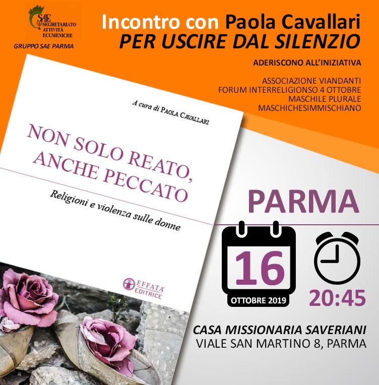 """16.10.2019, PARMA: Incontro con Paola Cavallari e presentazione del libro """"Non solo reato anche peccato"""" @ Casa Missionari Saveriani"""