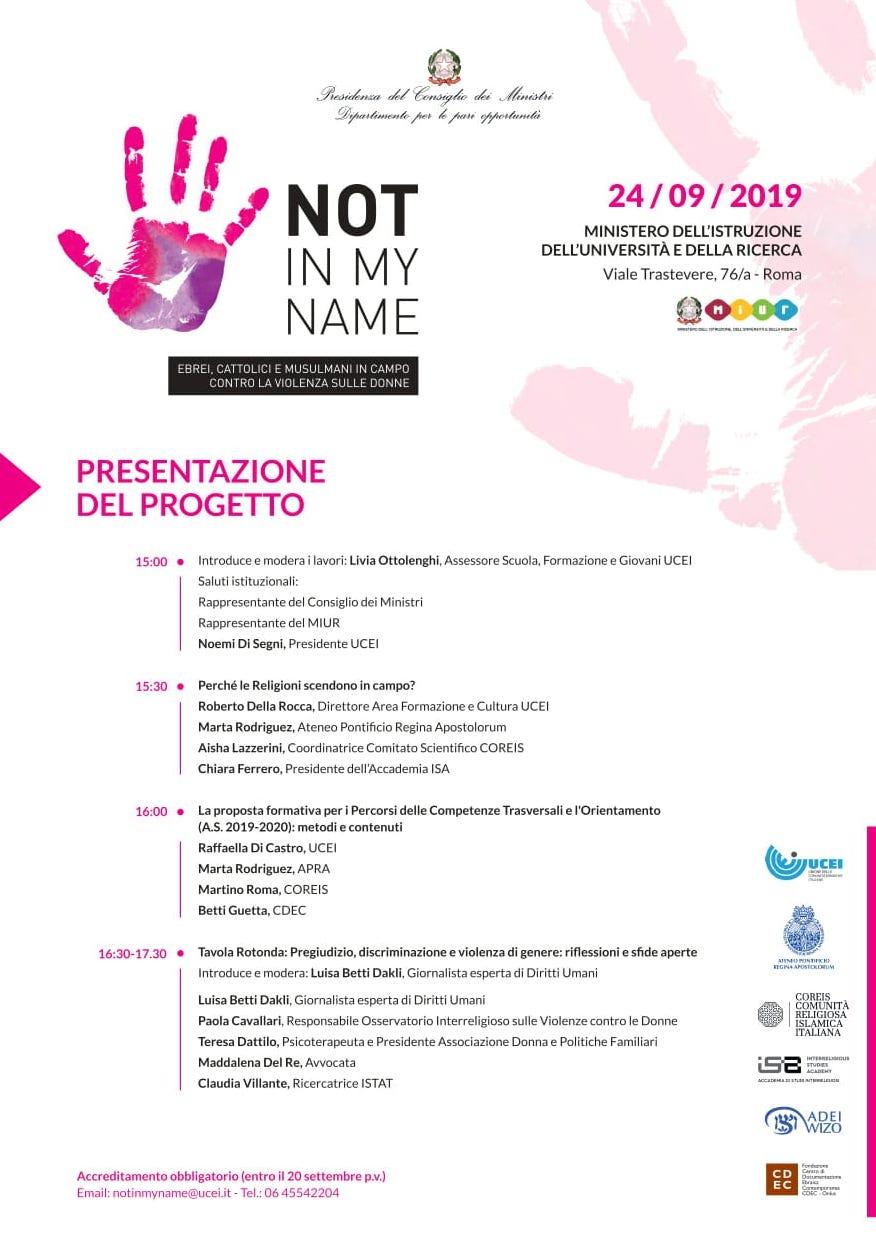 """24.09.2019, ROMA: Presentazione progetto """"Not in my name"""" @ Ministro dell'Istruzione dell'Università e della Ricerca"""