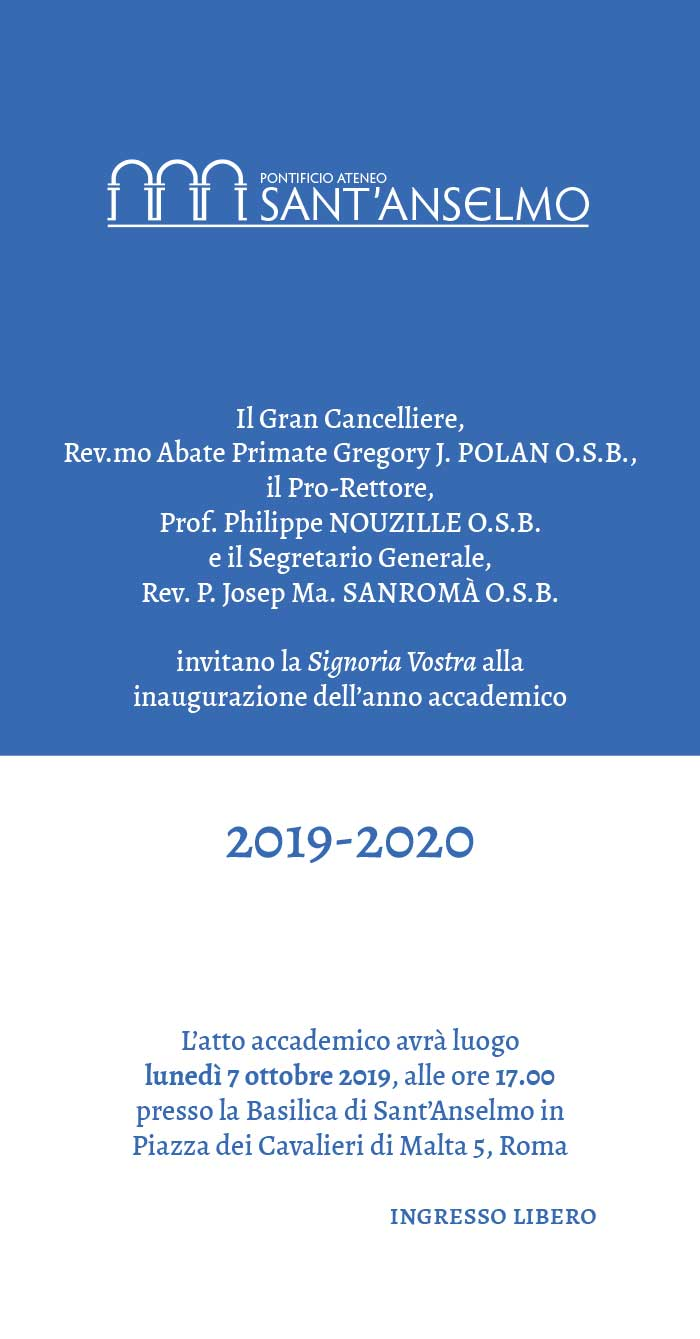 07.10.2019, ROMA: Pontificio Ateneo Sant'Anselmo - Presentazione Anno Accademico 2019-2020 con Intervento di Marinella Perroni @ Basilica Sant'Anselmo