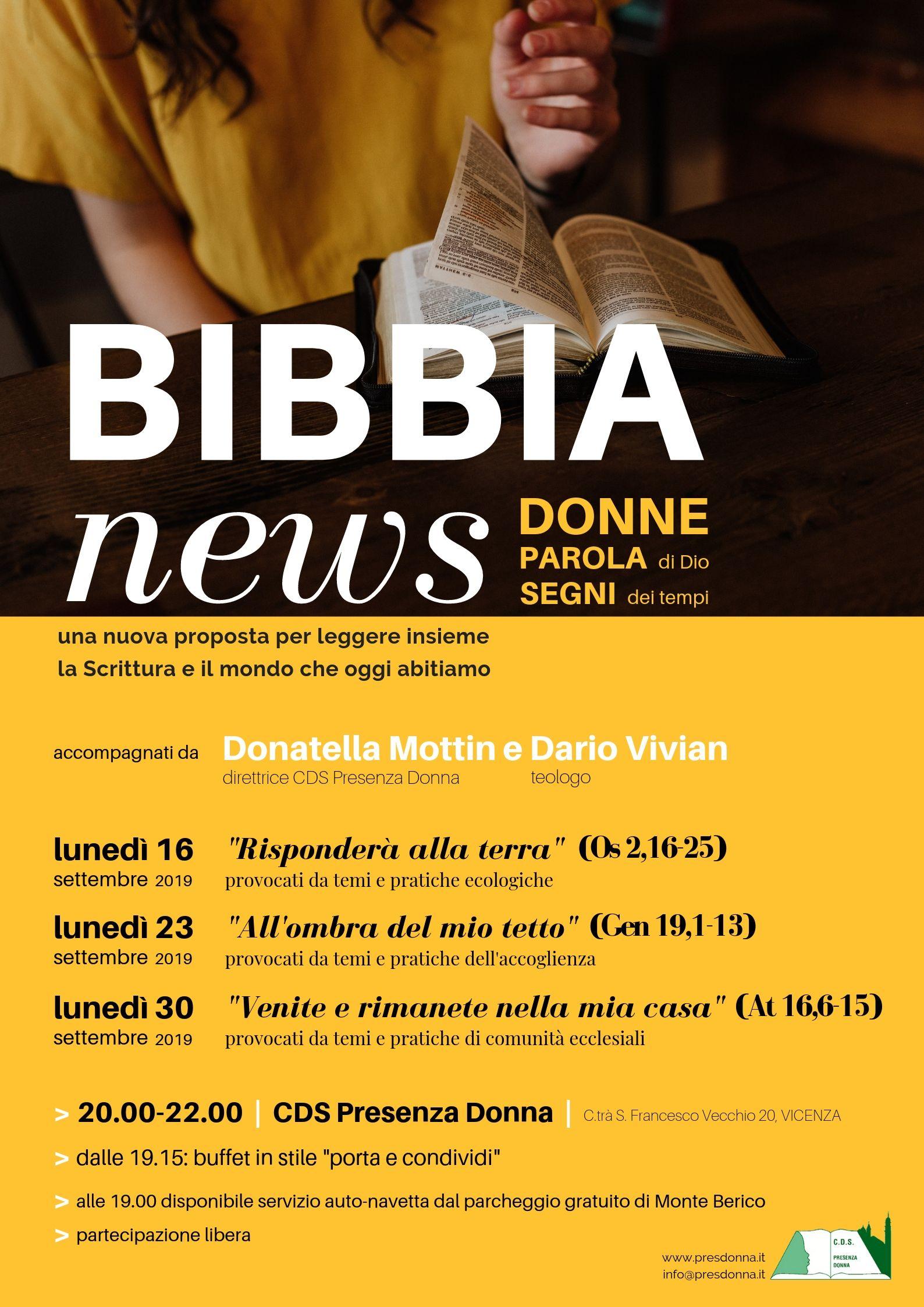 Ciclo di incontri a settembre: Bibbia News con Presenza Donna @ Associazione Presenza Donna