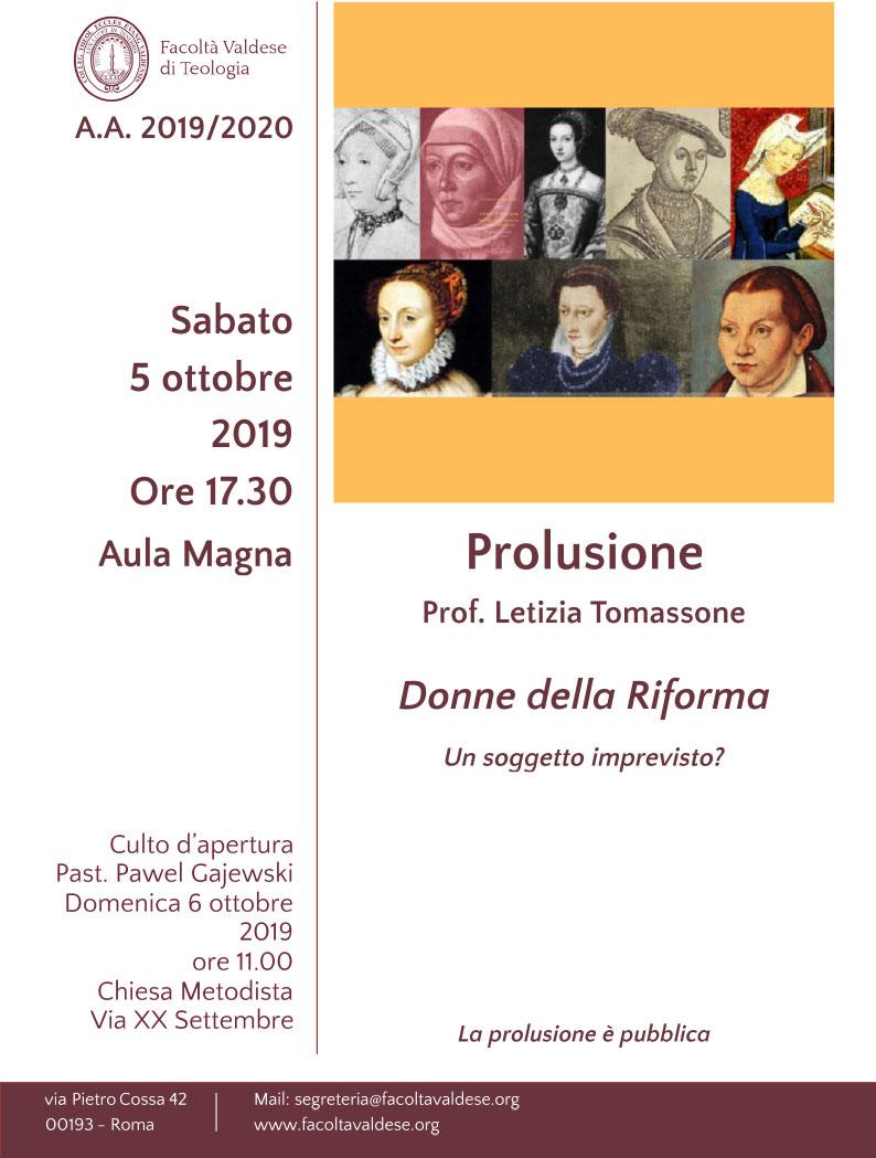 05.10.2019, ROMA: Prolusione - Donne della Riforma. Un soggetto imprevisto? @ Facoltà Valdese di Teologia