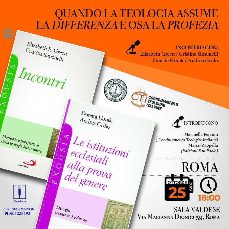 25.10.2019, ROMA: QUANDO LA TEOLOGIA ASSUME LA DIFFERENZA E OSA LA PROFEZIA @ Sala Valdese