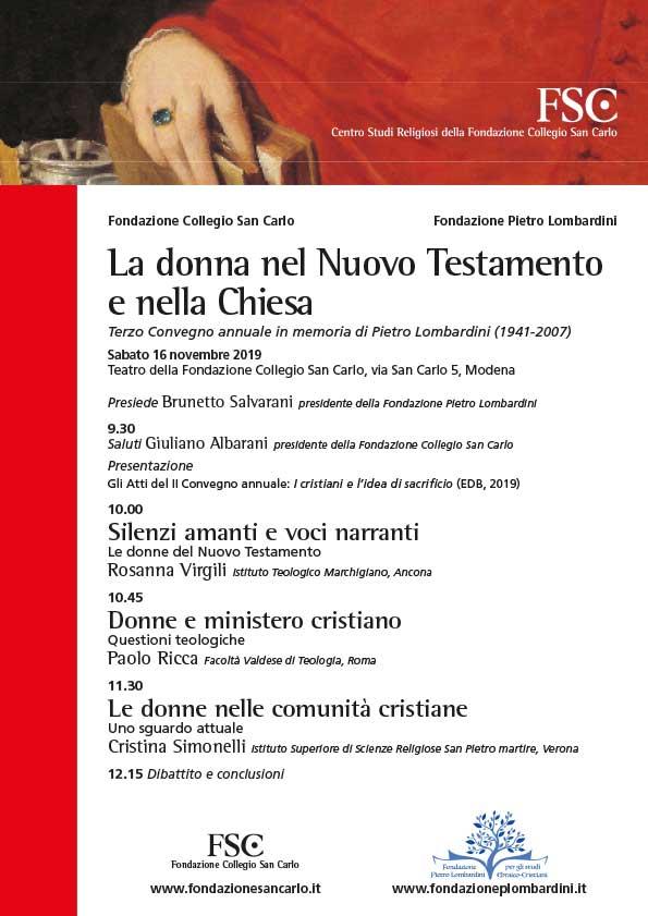 """16.11.2019, MODENA: Convegno """"La donna nel Nuovo Testamento e nella Chiesa"""" @ Centro Studi Religiosi della Fondazione San Carlo"""