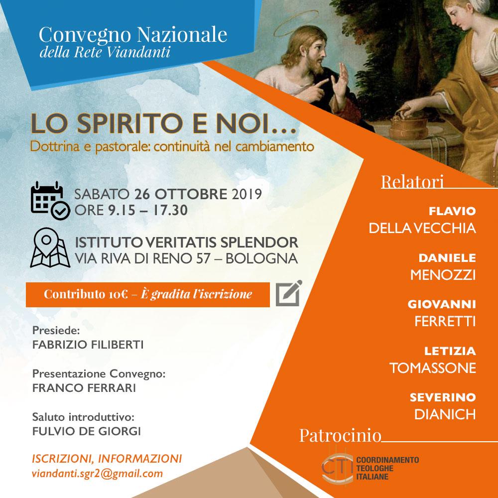"""26.10.2019, BOLOGNA: III Convegno Nazionale della Rete Viandanti """"Lo Spirito e noi"""""""