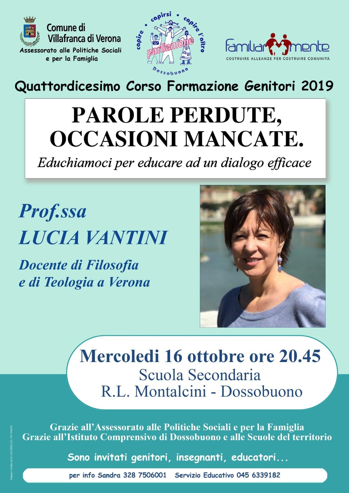 """16.10.2019, VERONA: """"Parole perdute, occasioni mancate"""" - Incontro con Lucia Vantini @ Scuola Secondaria R.L. Montalcini - Dossobuono"""