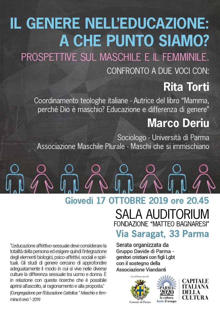 """17.10.2019, PARMA: """"Il genere nell'educazione, a che punto siamo?"""" con Rita Torti e Marco Deriu @ Sala Auditorium - Fondazione Matteo Bagnaresi"""