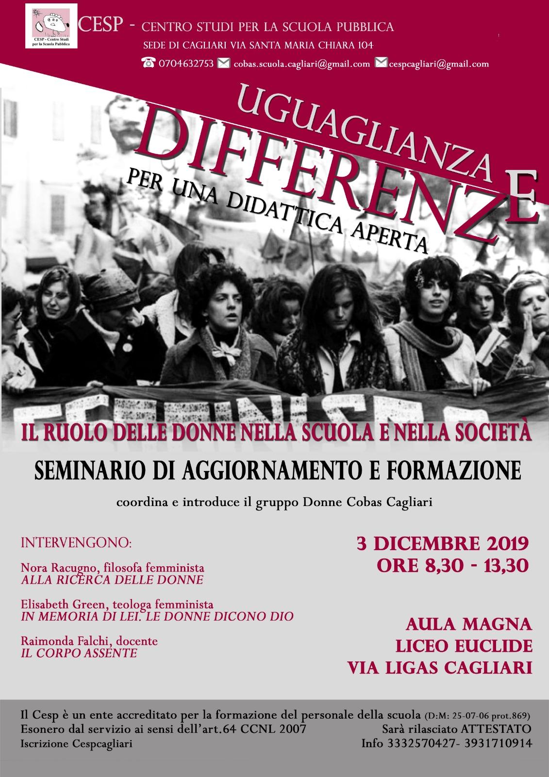 """03.12.2019, CAGLIARI: SEMINARIO """"UGUAGLIANZE E DIFFERENZE"""" @ CSPS-CENTRO STUDI PER LA SCUOLA PUBBLICA"""