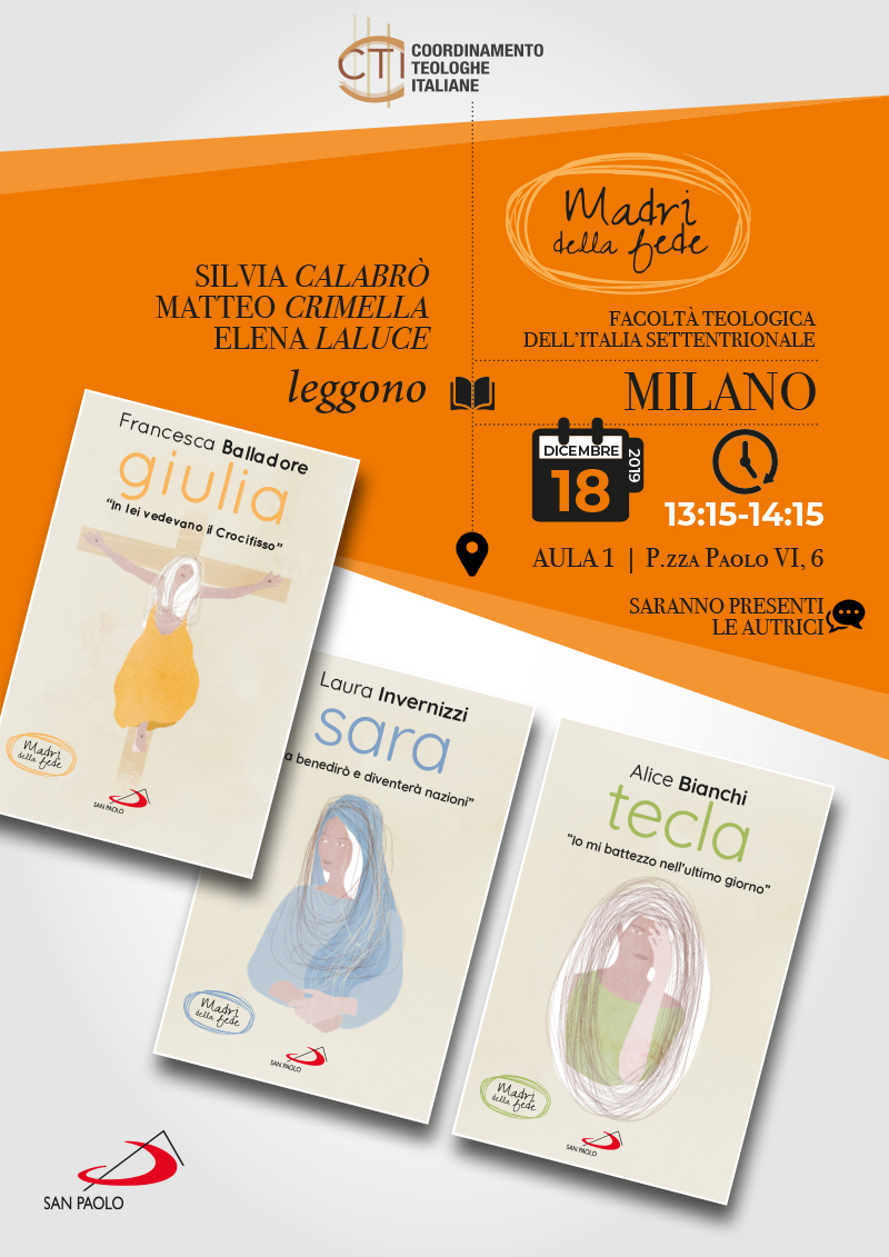 """18.12.2019, MILANO: Letture dalla collana """"Madri della fede"""" @ Facoltà Teologica dell'Italia Settentrionale"""