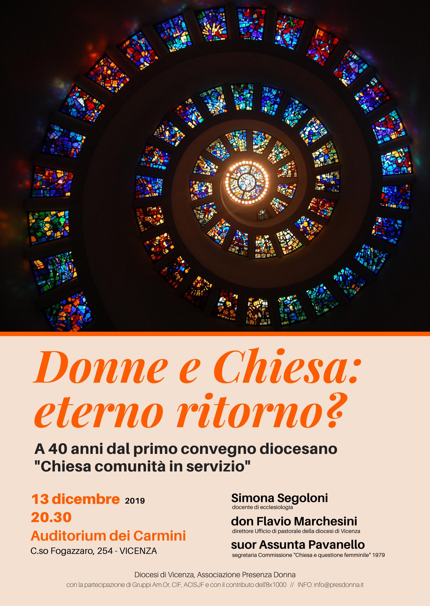 13.12.2019, VICENZA: Donne e chiesa: eterno ritorno? @ Auditorium dei Carmini