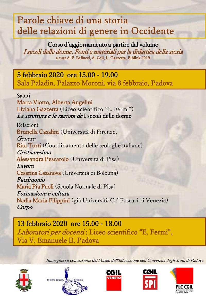 """05.02.2020, PADOVA: Corso d'aggiornamento """"Parole chiave di una storia delle relazioni di genere in Occidente"""" @ Sala Paladin - Palazzo Moroni (PD)"""