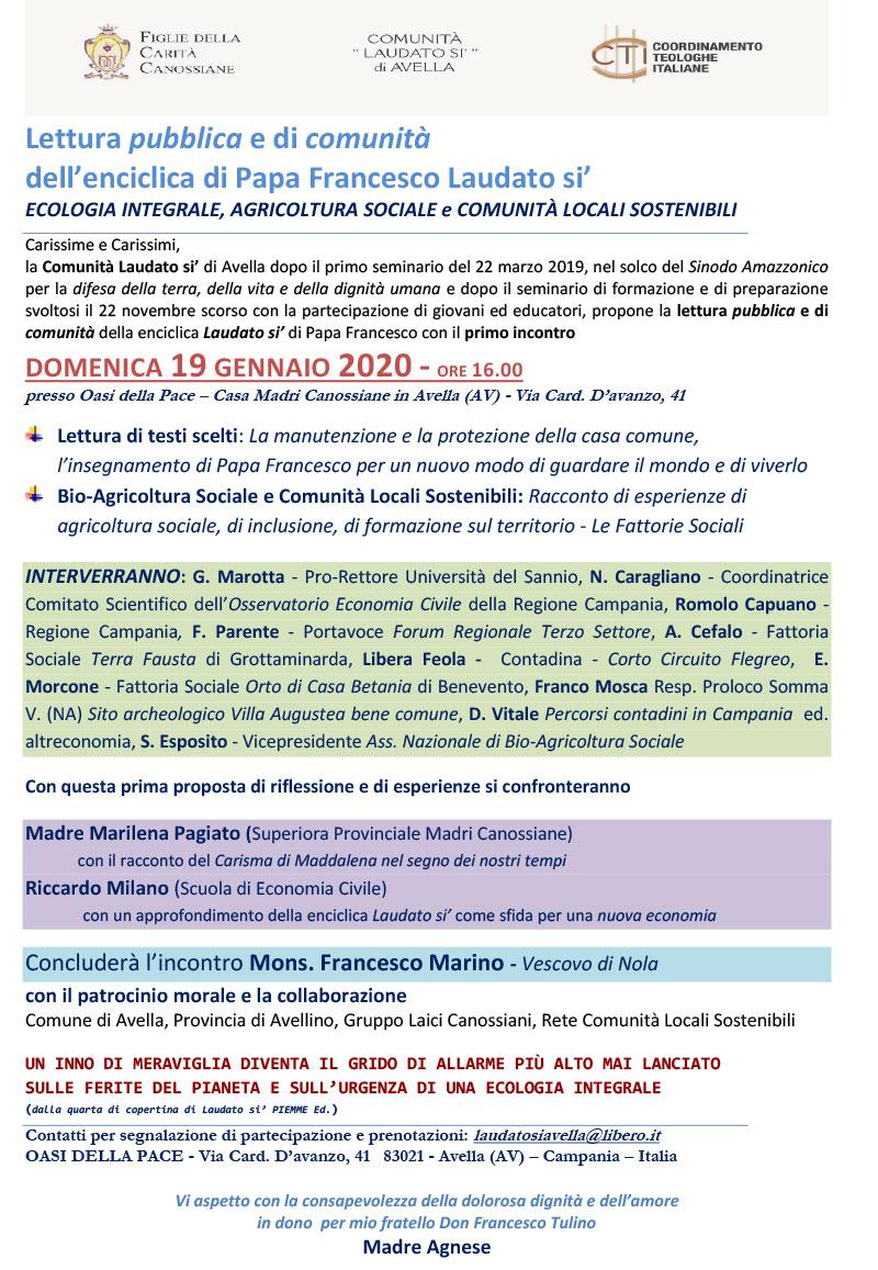 """19.01.2020, AVELLA (AV): Lettura pubblica e di comunità dell'enciclica di Papa Francesco """"Laudato sì"""" @ Oasi della Pace"""