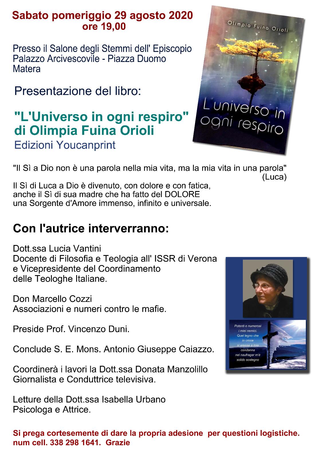 """29.08.2020, MATERA: Presentazione del libro  """"L'Universo in ogni respiro"""""""