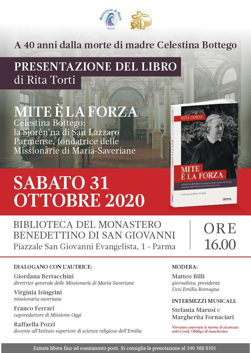 """31.10.2020, PARMA: Presentazione del libro """"Mite è la forza"""" con Rita Torti"""