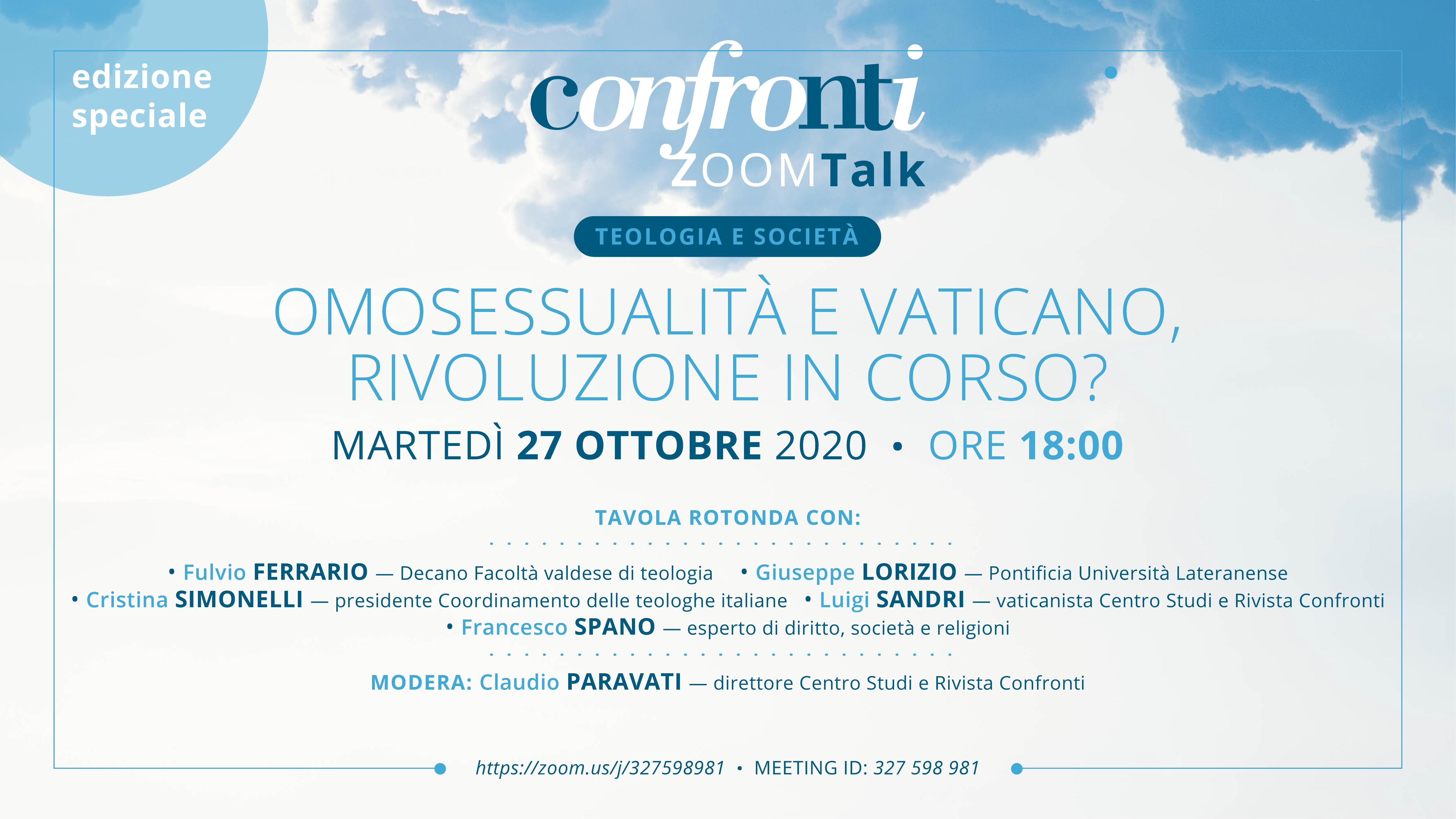 27.10.2020, ONLINE: Omosessualità e Vaticano,  rivoluzione in corso?