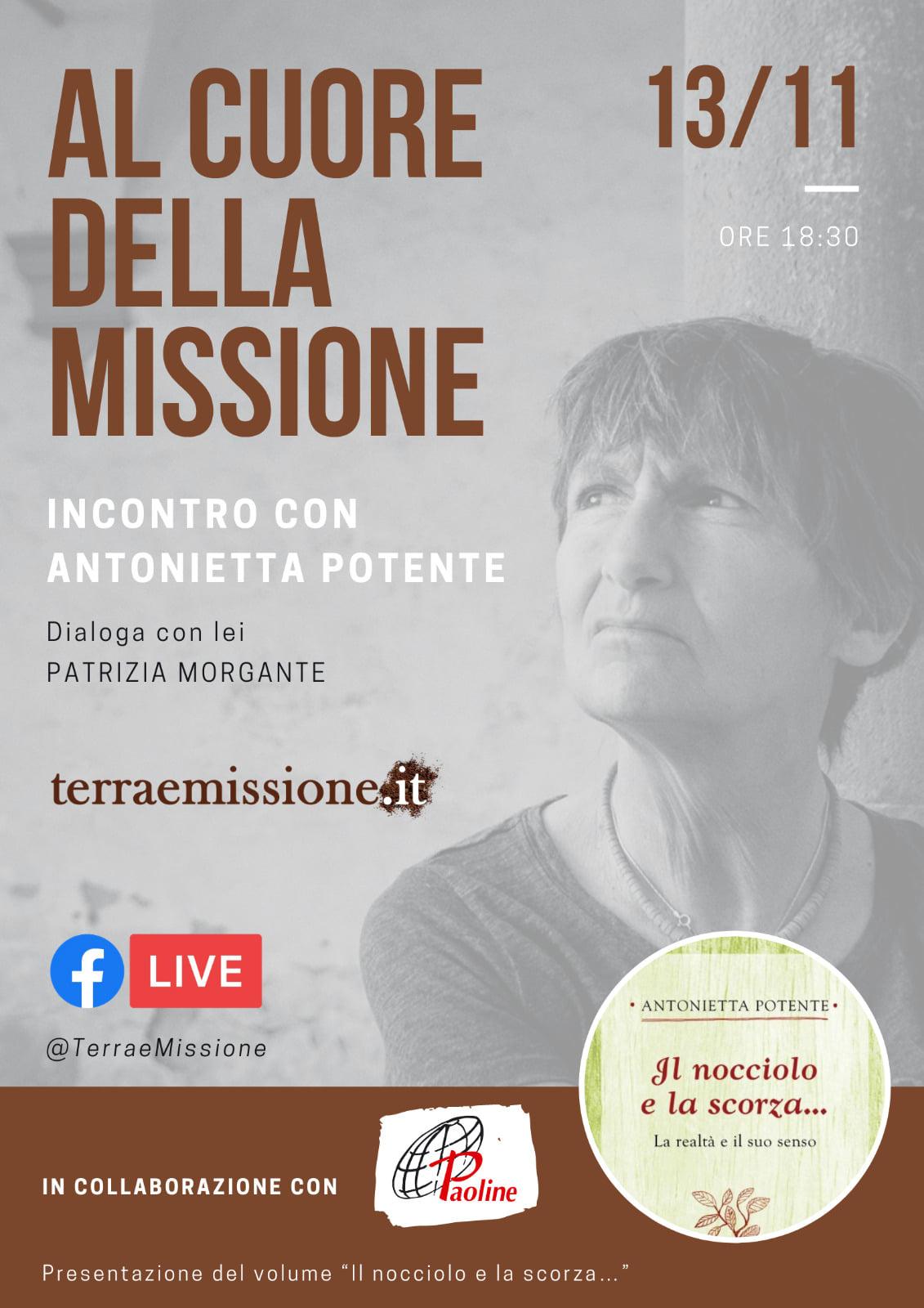13.11.2020, ONLINE: AL CUORE DELLA MISSIONE - Incontro con Antonietta Potente