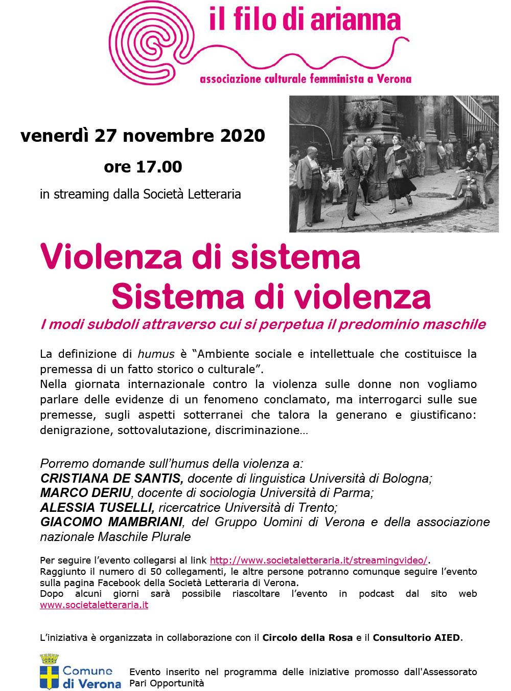27.11.2020, ONLINE: Violenza di sistema, Sistema di violenza