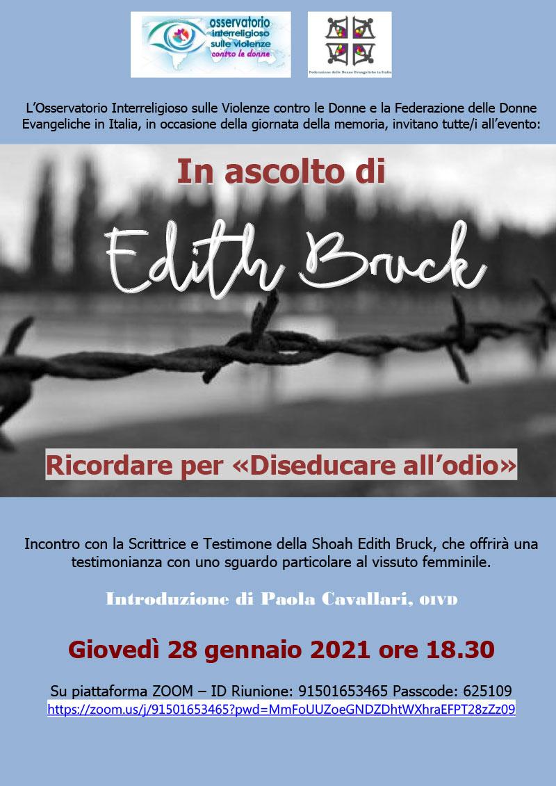 28.01.2021, ONLINE: In ascolto di Edith Bruck