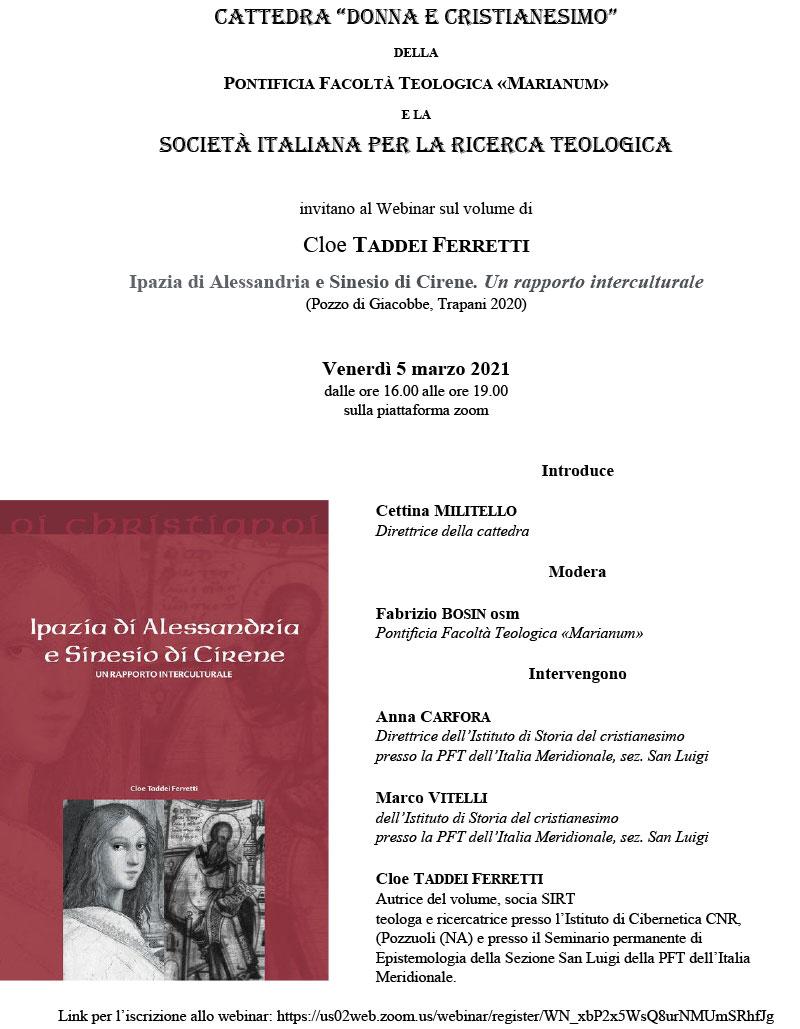05.03.2021, ONLINE: Ipazia di Alessandria e Sinesio di Cirene. Un rapporto interculturale