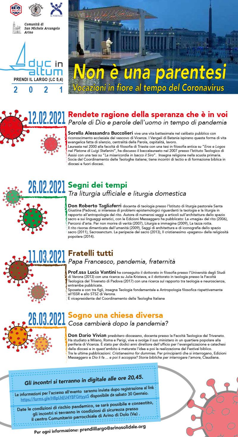 """Ciclo di incontri ONLINE: """"Non è una parentesi"""" Vocazioni in fiore al tempo del coronavirus"""
